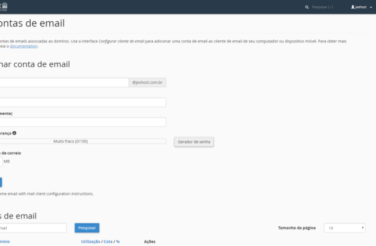 Painel de hospedagem de sites tela-contas-email Hospedagem de site JEX Host